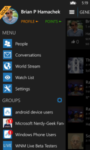 WNM Live app with slide-out navigation menu