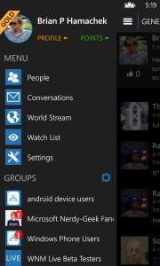 WNM Live app with slide-out navigation menu